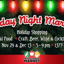 Join the Regina Farmers' Market Cooperative for TWO festive evenings of holiday shopping combined with local food, drinks, & live music!  Sip a local cocktail and shop the best in Saskatchewan-made food, beverage, art, & craft! And don't forget to bring a